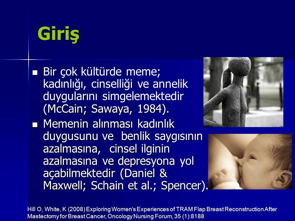 Giriş Bir çok kültürde meme; kadınlığı, cinselliği ve annelik duygularını simgelemektedir (McCain; Sawaya, 1984).