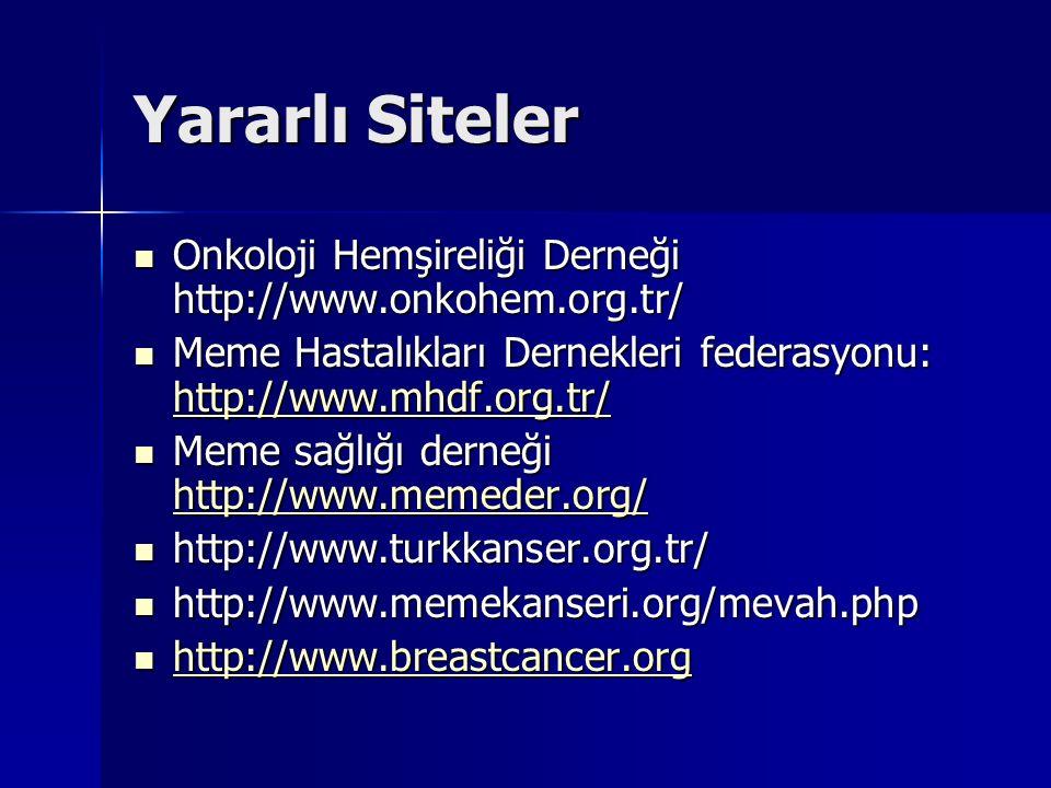 Yararlı Siteler Onkoloji Hemşireliği Derneği http://www.onkohem.org.tr/ Meme Hastalıkları Dernekleri federasyonu: http://www.mhdf.org.tr/