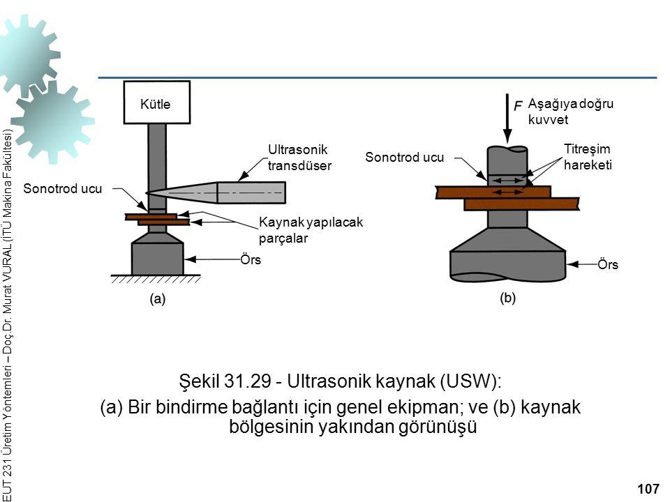 Şekil 31.29 ‑ Ultrasonik kaynak (USW):