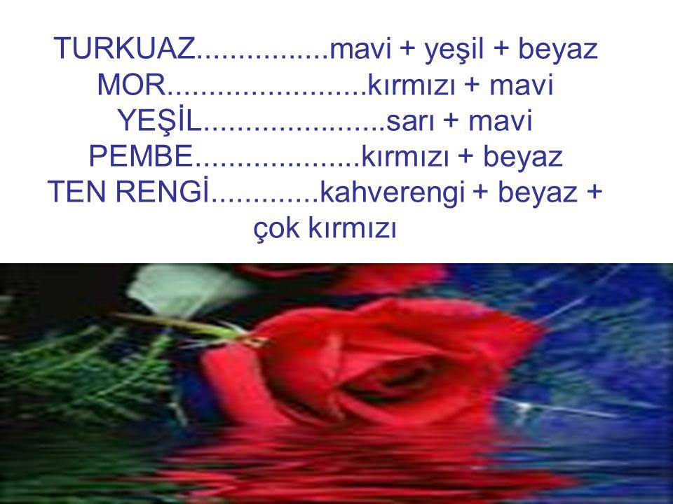 TURKUAZ. mavi + yeşil + beyaz MOR. kırmızı + mavi YEŞİL