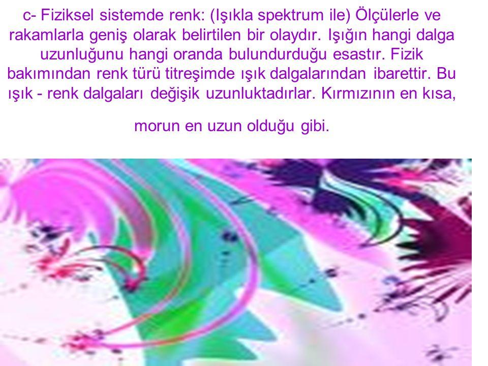 c- Fiziksel sistemde renk: (Işıkla spektrum ile) Ölçülerle ve rakamlarla geniş olarak belirtilen bir olaydır.