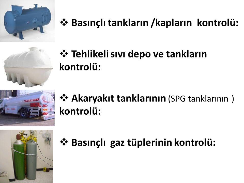Basınçlı tankların /kapların kontrolü: