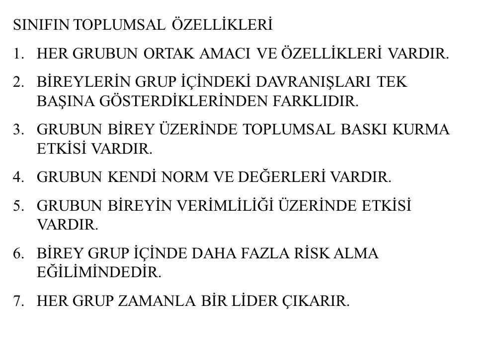 SINIFIN TOPLUMSAL ÖZELLİKLERİ