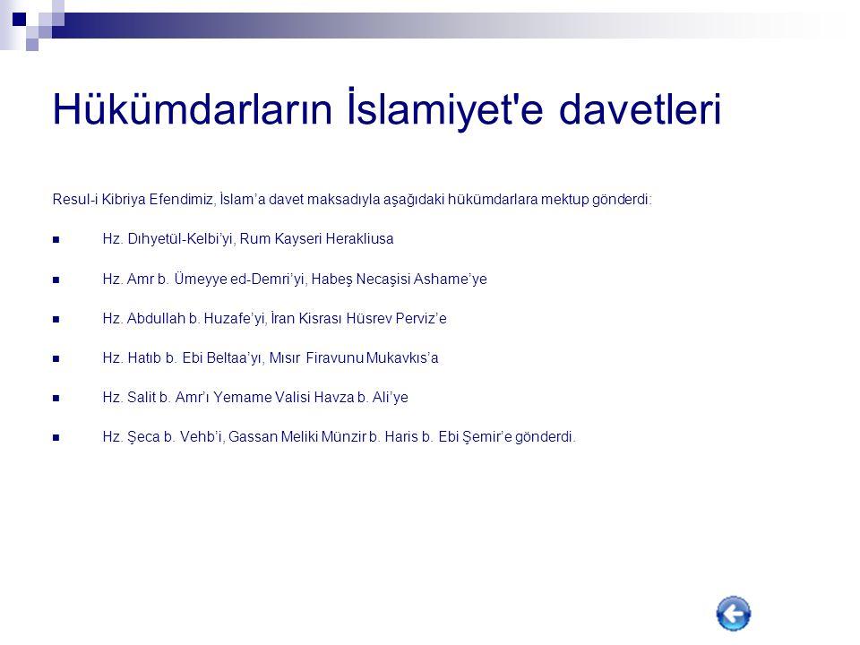 Hükümdarların İslamiyet e davetleri