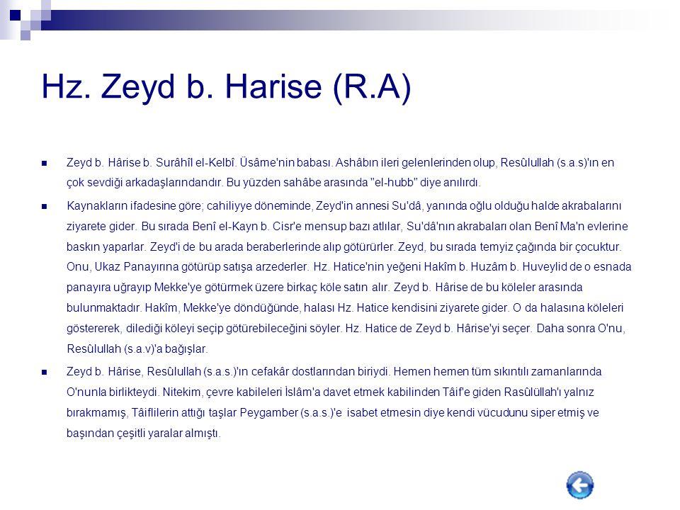 Hz. Zeyd b. Harise (R.A)