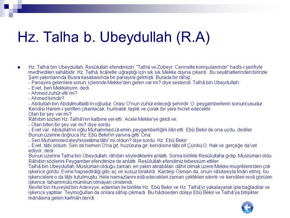 Hz. Talha b. Ubeydullah (R.A)