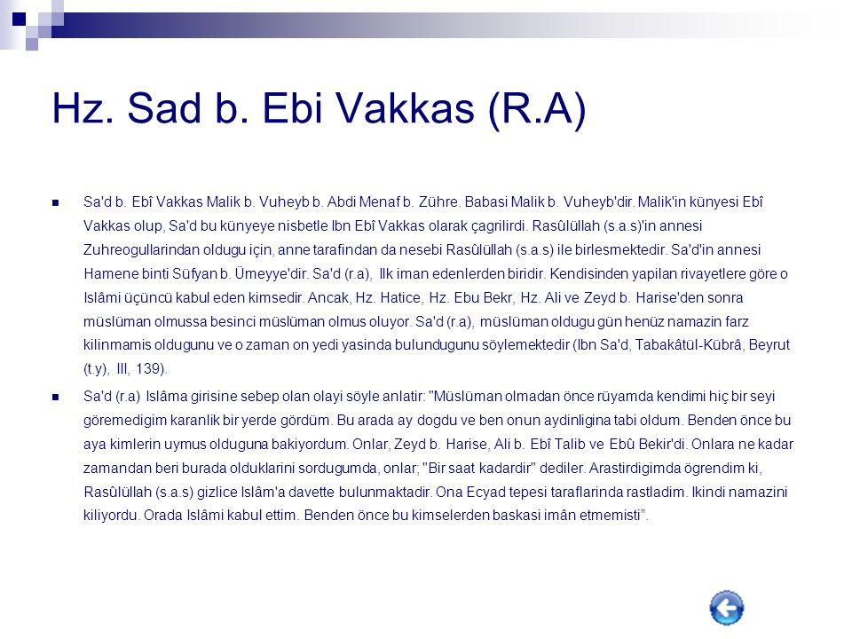 Hz. Sad b. Ebi Vakkas (R.A)