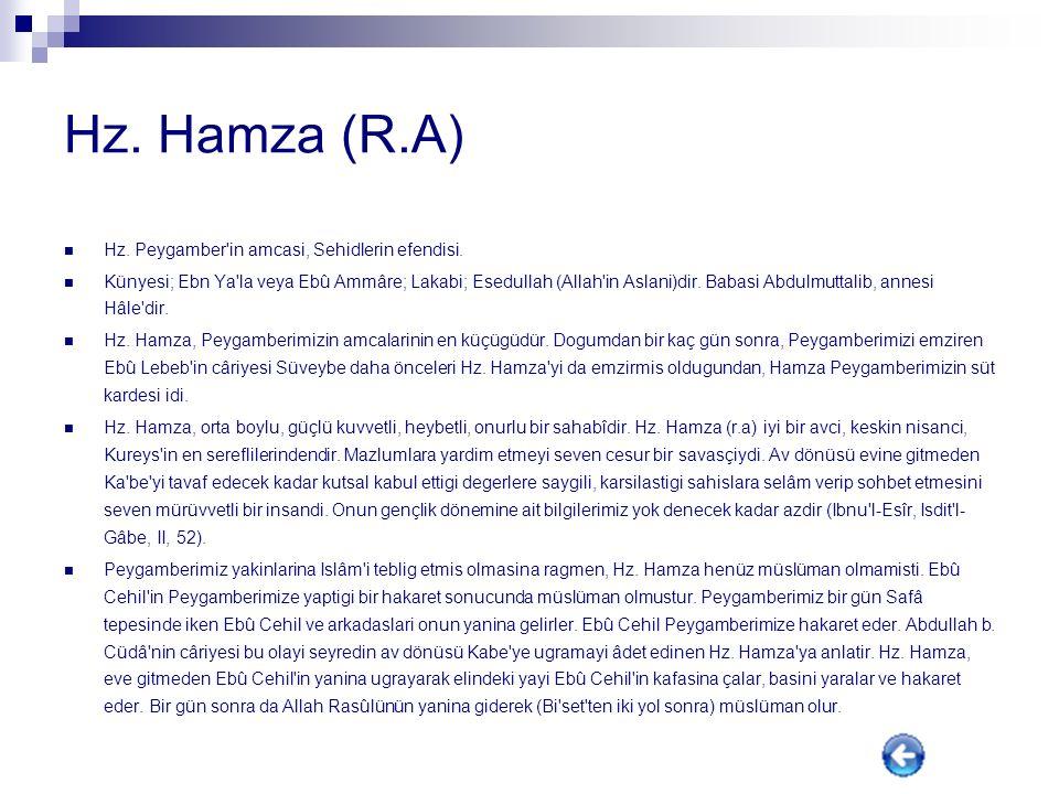 Hz. Hamza (R.A) Hz. Peygamber in amcasi, Sehidlerin efendisi.