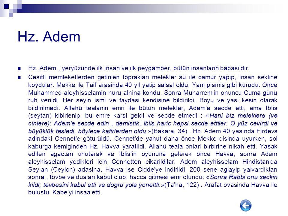 Hz. Adem Hz. Adem , yeryüzünde ilk insan ve ilk peygamber, bütün insanlarin babasi dir.