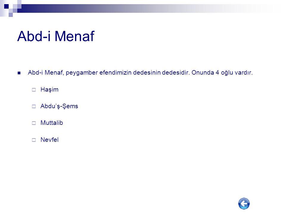 Abd-i Menaf Abd-i Menaf, peygamber efendimizin dedesinin dedesidir. Onunda 4 oğlu vardır. Haşim. Abdu'ş-Şems.