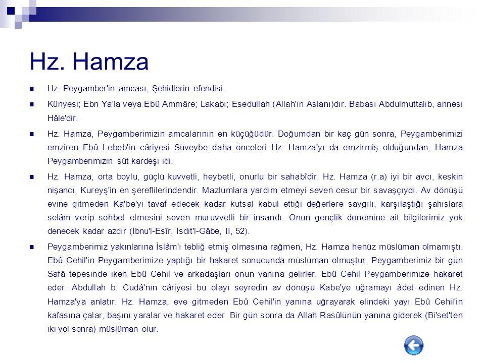 Hz. Hamza Hz. Peygamber in amcası, Şehidlerin efendisi.