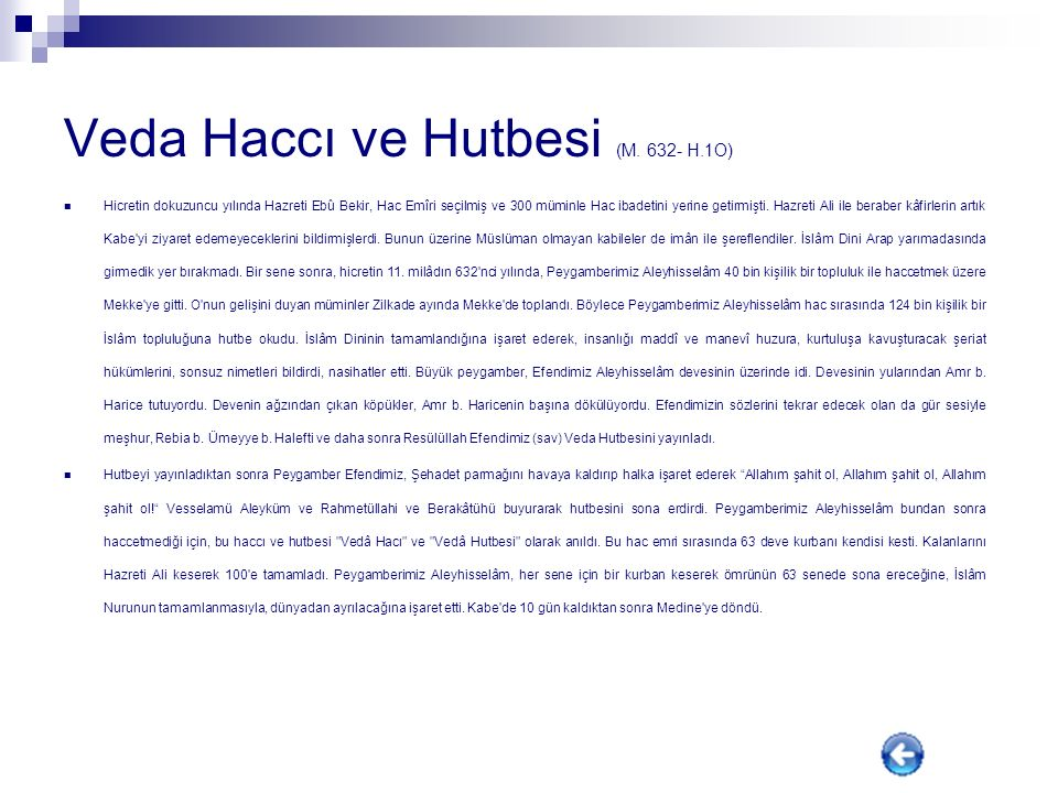 Veda Haccı ve Hutbesi (M. 632- H.1O)