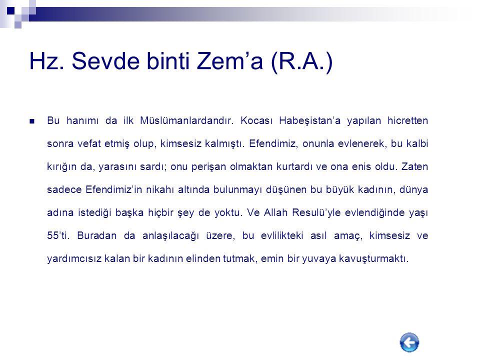 Hz. Sevde binti Zem'a (R.A.)