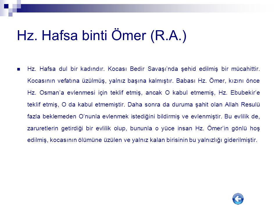 Hz. Hafsa binti Ömer (R.A.)