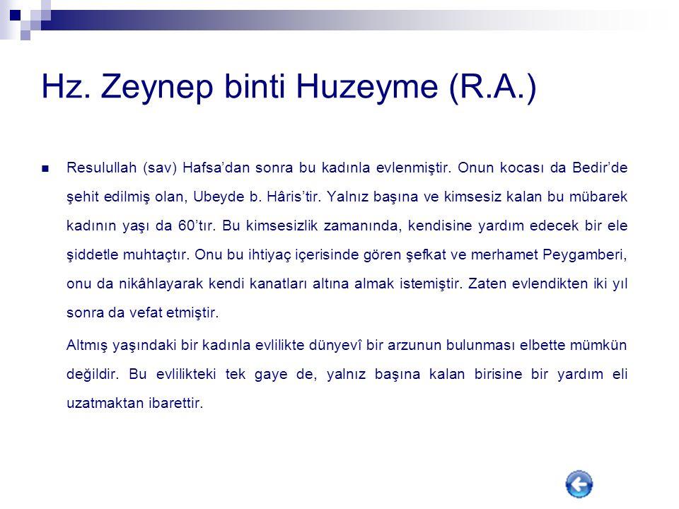 Hz. Zeynep binti Huzeyme (R.A.)