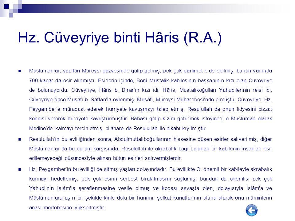 Hz. Cüveyriye binti Hâris (R.A.)