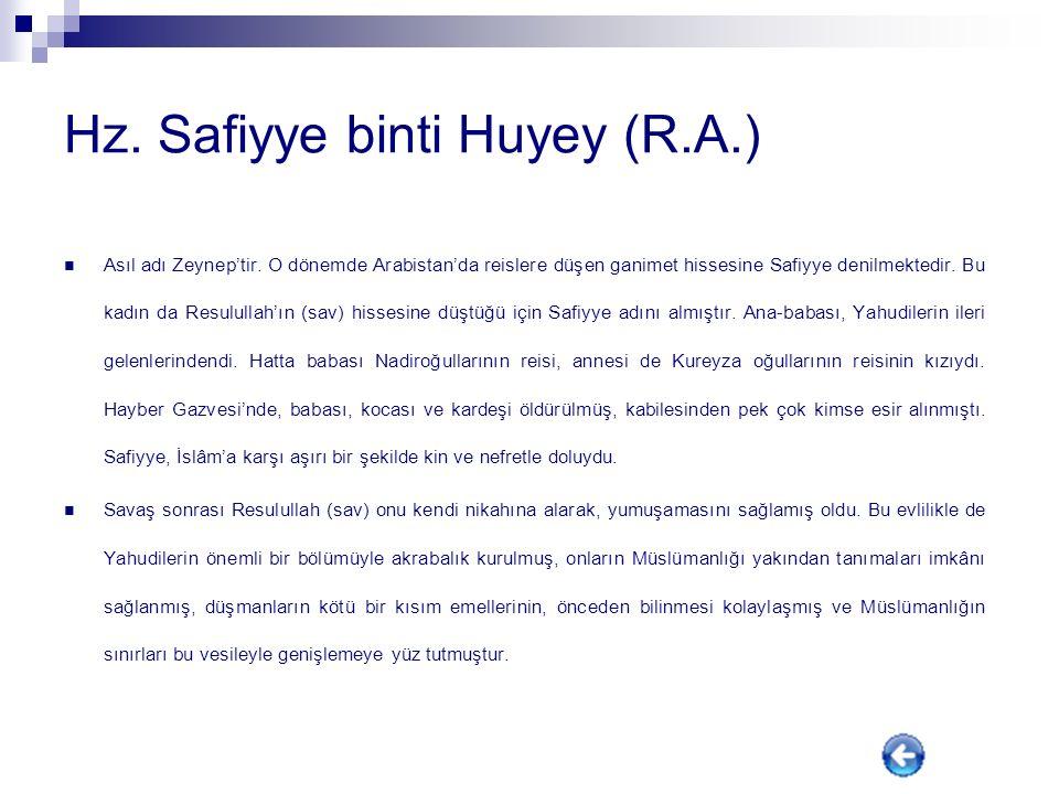 Hz. Safiyye binti Huyey (R.A.)