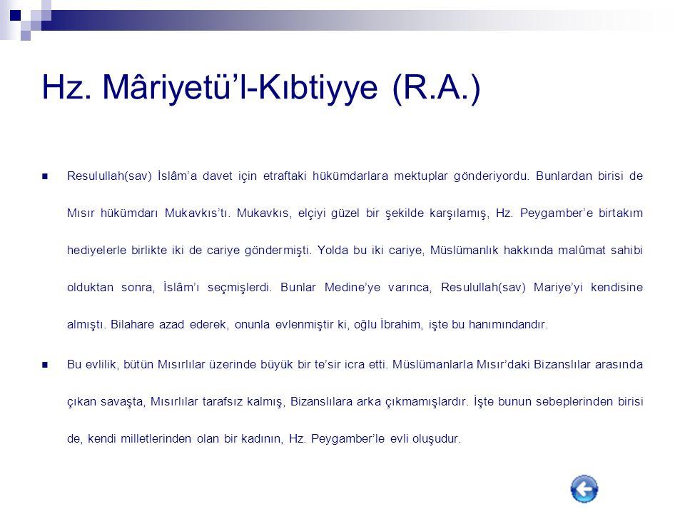 Hz. Mâriyetü'l-Kıbtiyye (R.A.)