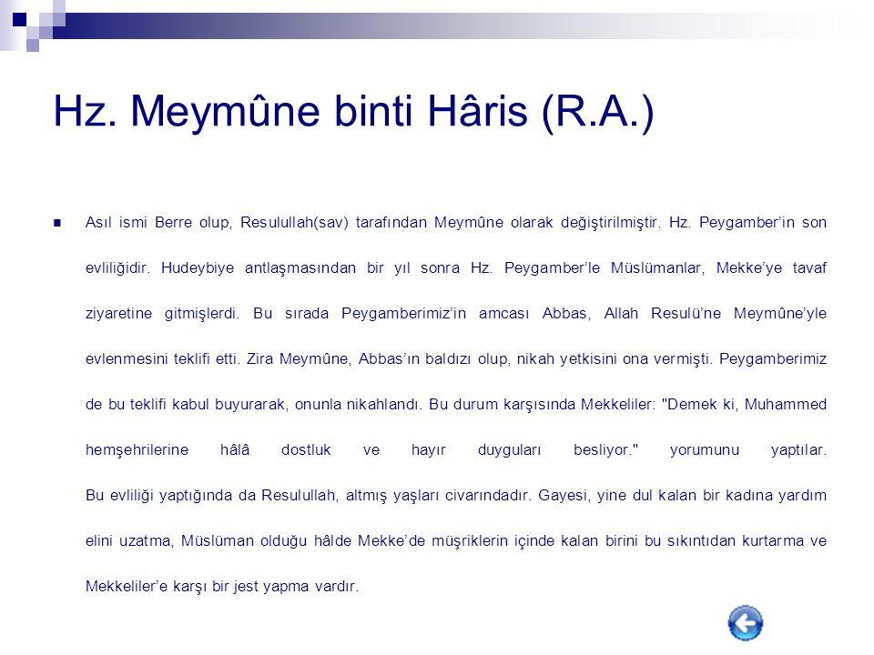 Hz. Meymûne binti Hâris (R.A.)