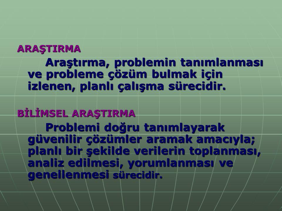 ARAŞTIRMA Araştırma, problemin tanımlanması ve probleme çözüm bulmak için izlenen, planlı çalışma sürecidir.