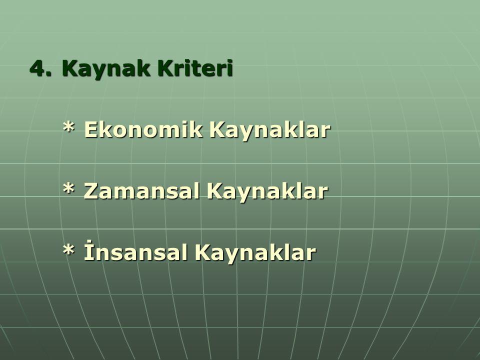 Kaynak Kriteri * Ekonomik Kaynaklar * Zamansal Kaynaklar * İnsansal Kaynaklar