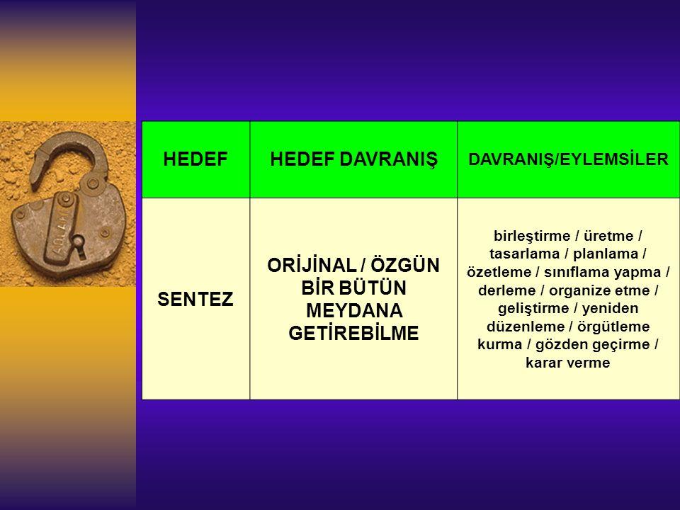 ORİJİNAL / ÖZGÜN BİR BÜTÜN MEYDANA GETİREBİLME