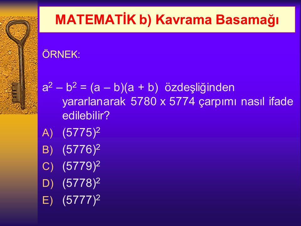 MATEMATİK b) Kavrama Basamağı