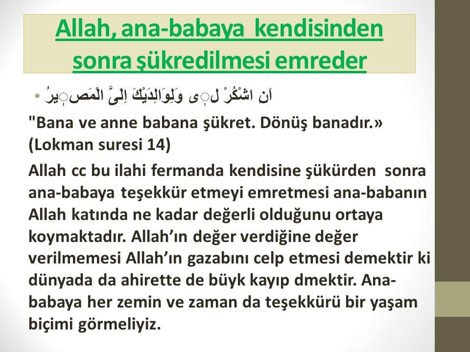 Allah, ana-babaya kendisinden sonra şükredilmesi emreder