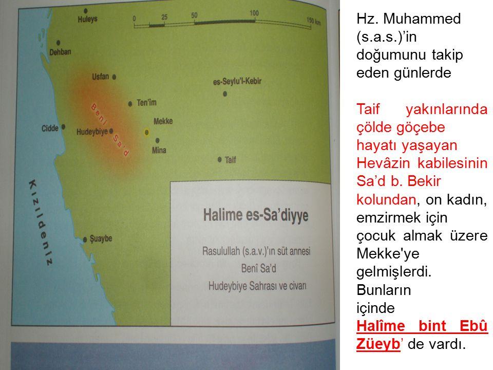 Hz. Muhammed (s.a.s.)'in doğumunu takip. eden günlerde. Taif yakınlarında çölde göçebe. hayatı yaşayan.