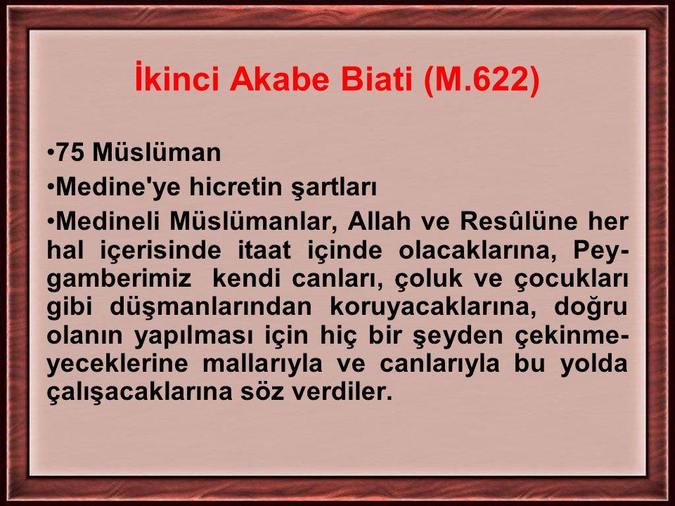 İkinci Akabe Biati (M.622) 75 Müslüman Medine ye hicretin şartları