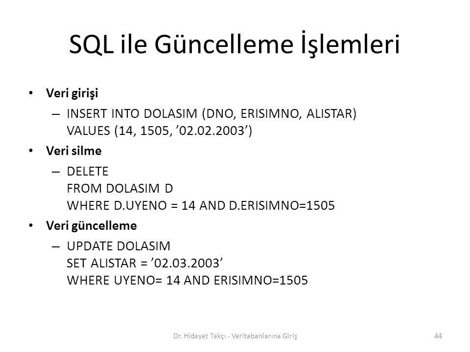 SQL ile Güncelleme İşlemleri