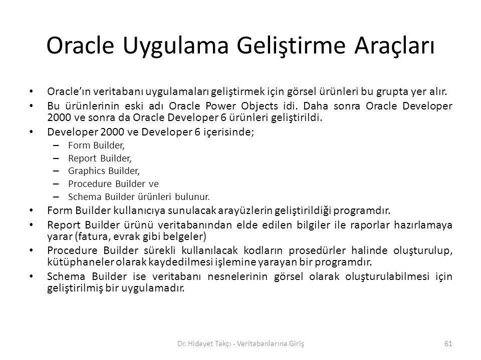 Oracle Uygulama Geliştirme Araçları