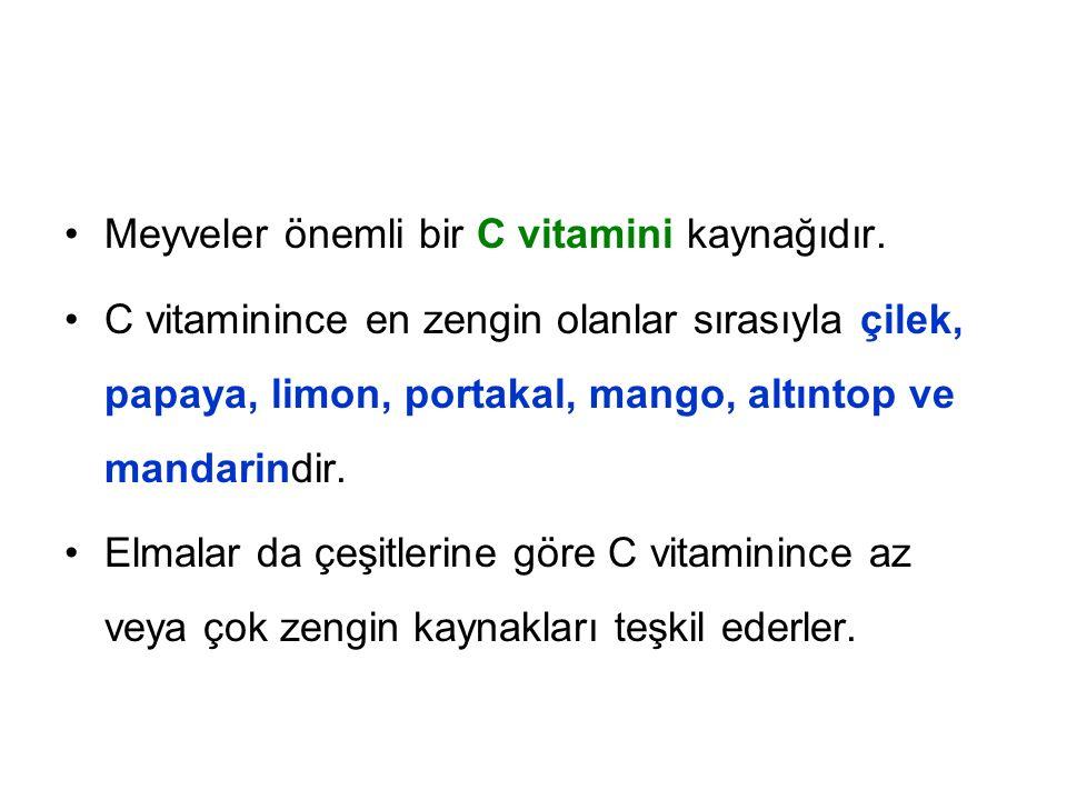 Meyveler önemli bir C vitamini kaynağıdır.