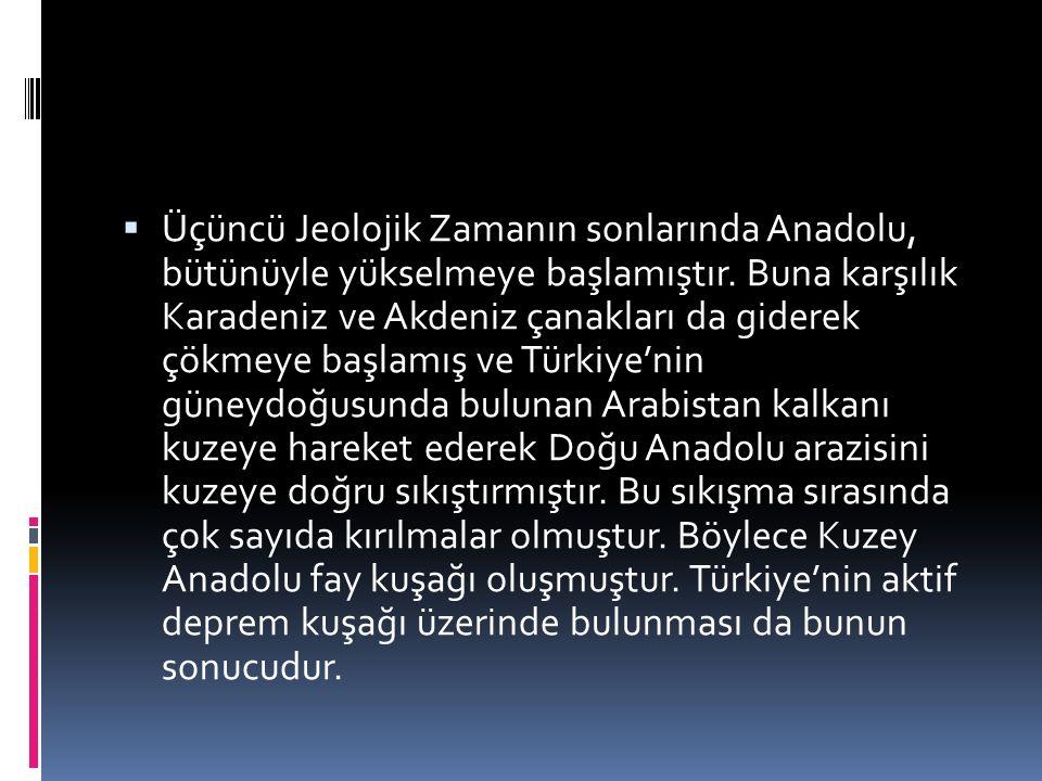 Üçüncü Jeolojik Zamanın sonlarında Anadolu, bütünüyle yükselmeye başlamıştır.