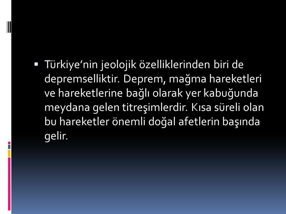 Türkiye'nin jeolojik özelliklerinden biri de depremselliktir
