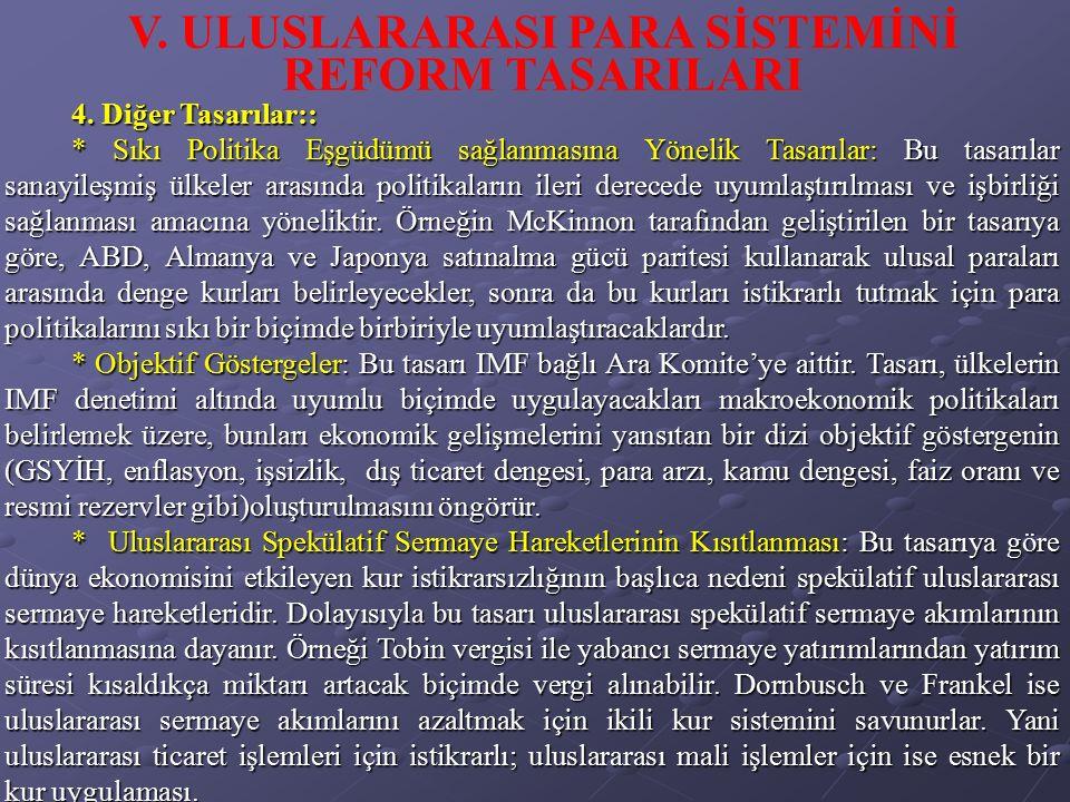 V. ULUSLARARASI PARA SİSTEMİNİ REFORM TASARILARI
