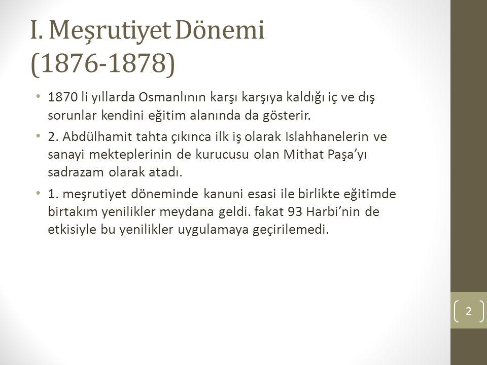 I. Meşrutiyet Dönemi (1876-1878)