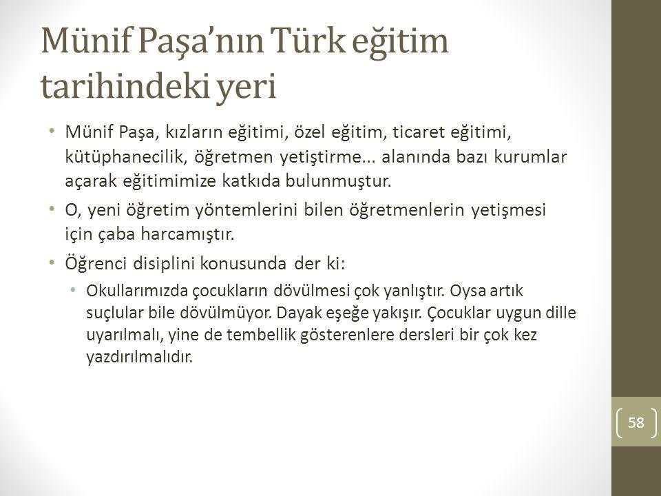 Münif Paşa'nın Türk eğitim tarihindeki yeri