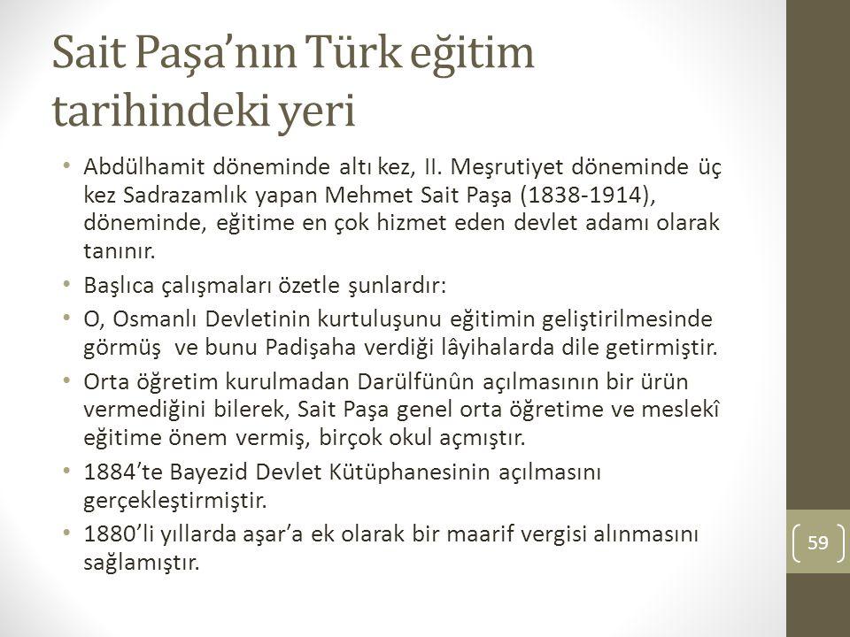 Sait Paşa'nın Türk eğitim tarihindeki yeri