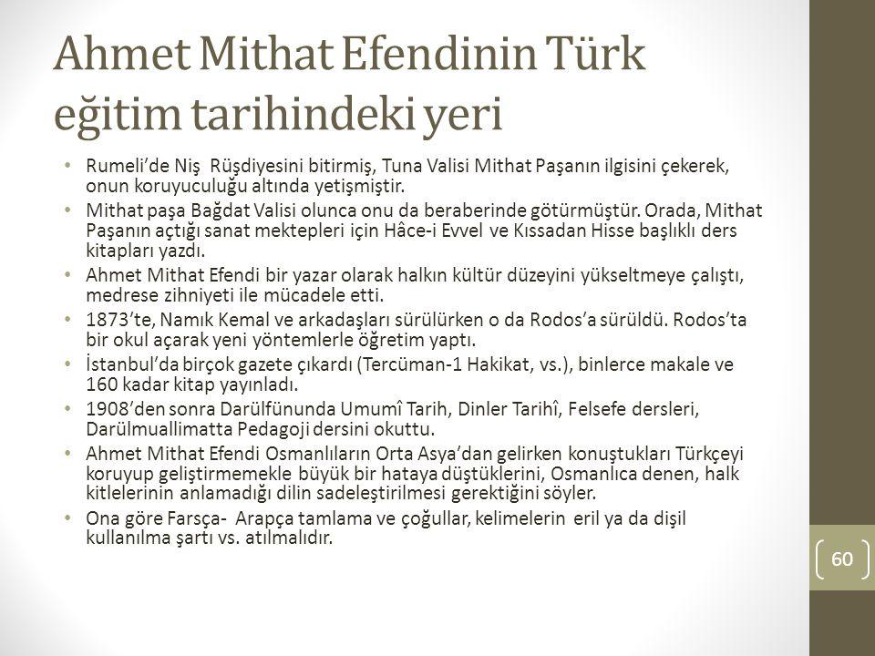 Ahmet Mithat Efendinin Türk eğitim tarihindeki yeri