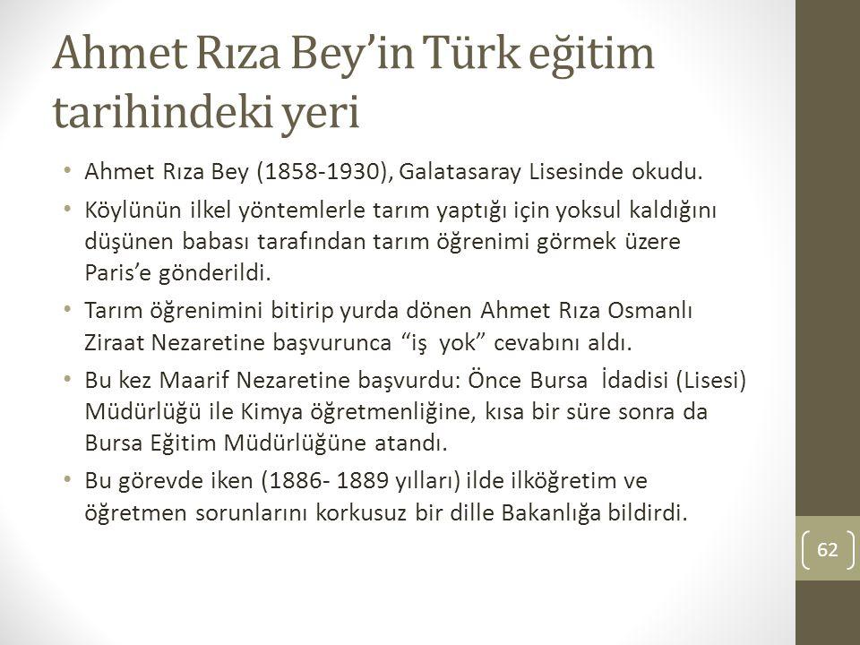 Ahmet Rıza Bey'in Türk eğitim tarihindeki yeri