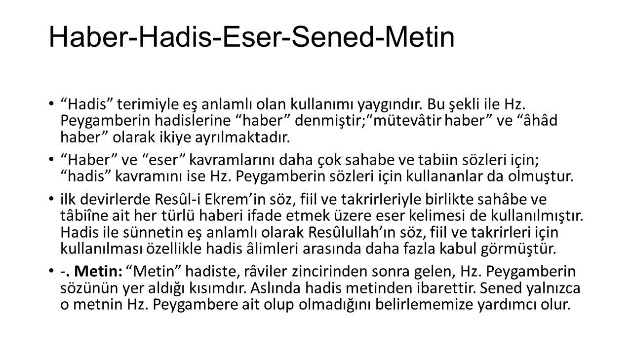 Haber-Hadis-Eser-Sened-Metin
