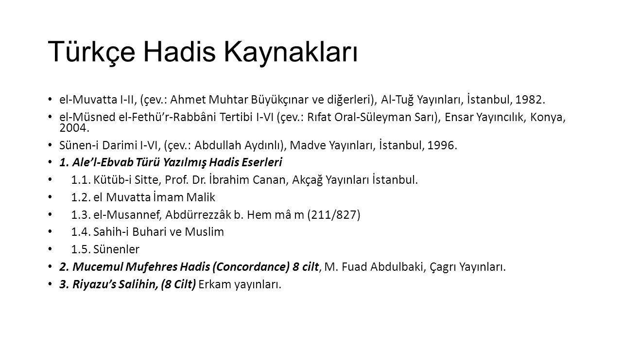 Türkçe Hadis Kaynakları
