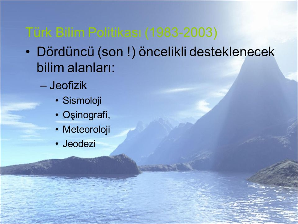 Türk Bilim Politikası (1983-2003)