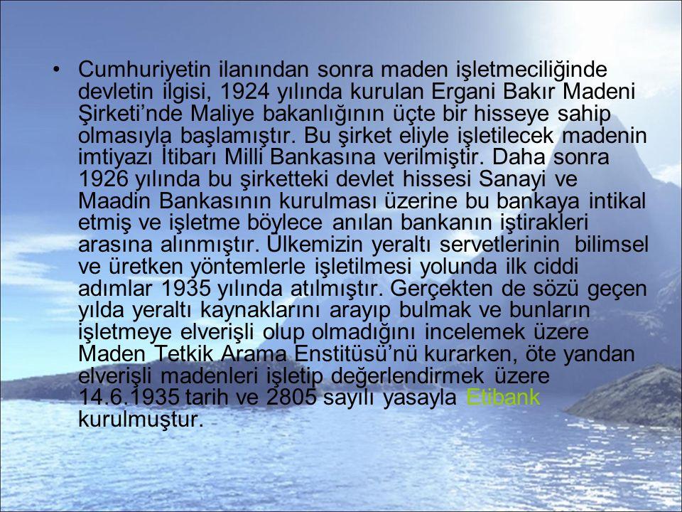 Cumhuriyetin ilanından sonra maden işletmeciliğinde devletin ilgisi, 1924 yılında kurulan Ergani Bakır Madeni Şirketi'nde Maliye bakanlığının üçte bir hisseye sahip olmasıyla başlamıştır.