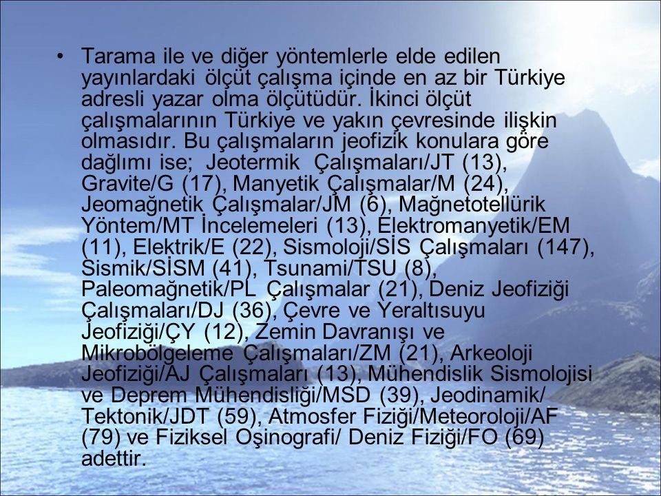 Tarama ile ve diğer yöntemlerle elde edilen yayınlardaki ölçüt çalışma içinde en az bir Türkiye adresli yazar olma ölçütüdür.