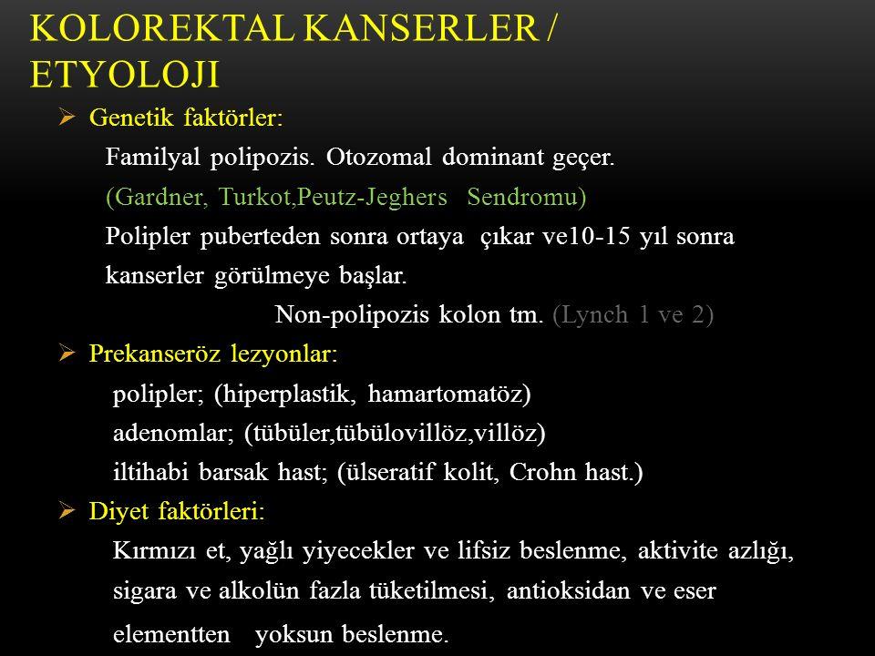 KOLOREKTAL KANSERLER / Etyoloji