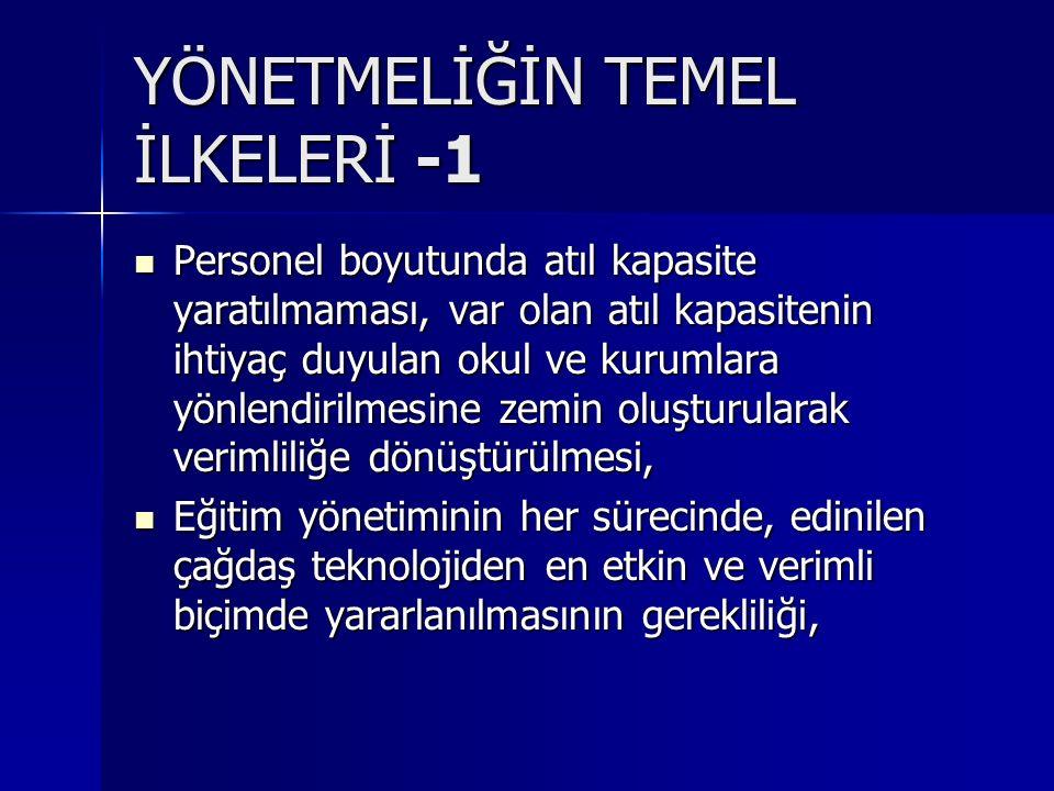 YÖNETMELİĞİN TEMEL İLKELERİ -1
