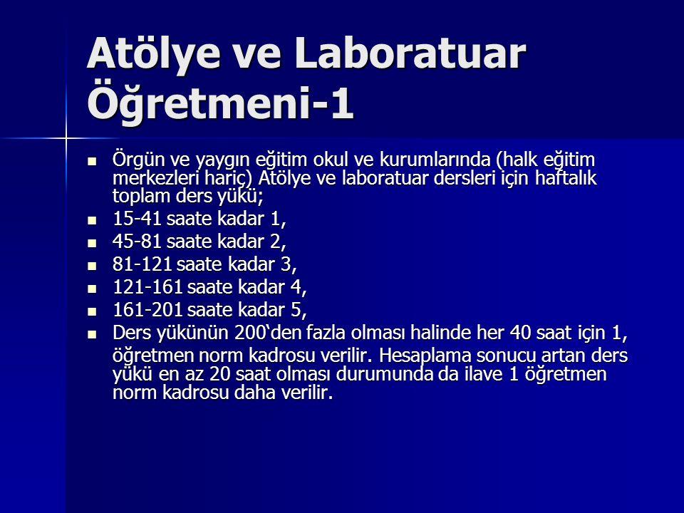 Atölye ve Laboratuar Öğretmeni-1