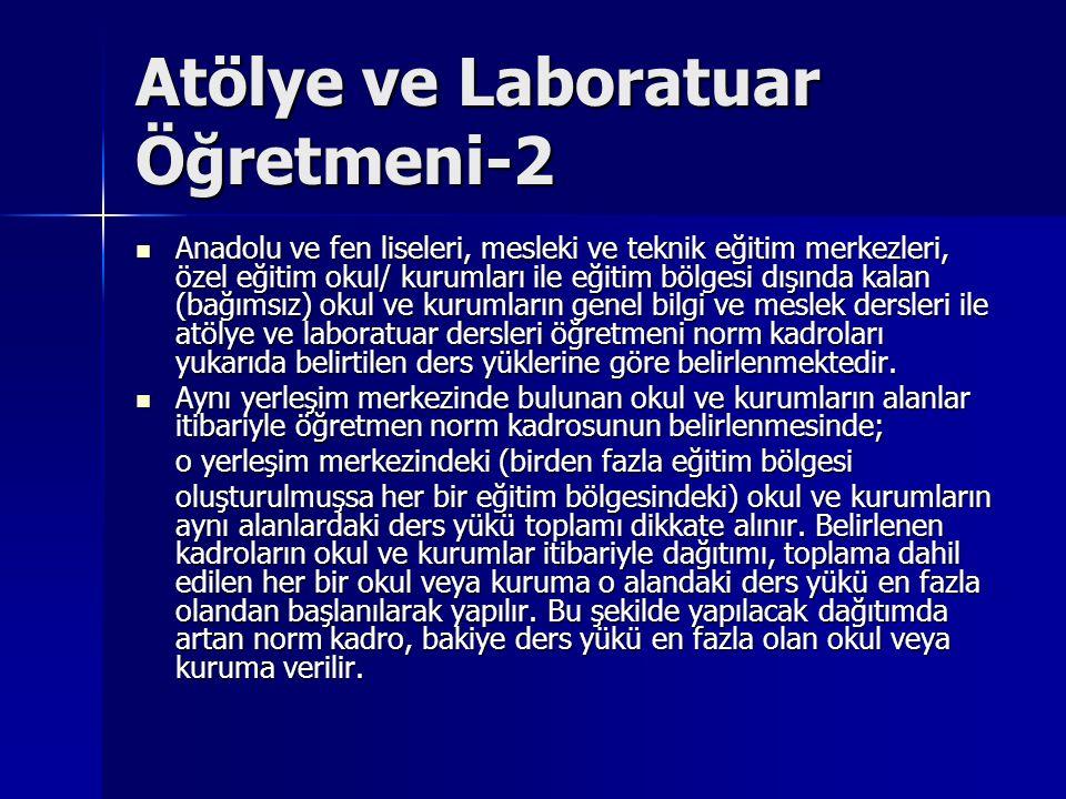 Atölye ve Laboratuar Öğretmeni-2